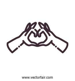 heart gesture with hands line style icon vector design