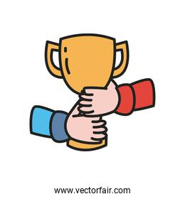 Hands holding trophy line and fill style icon vector design