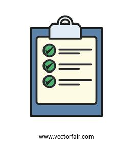 document with check marks line and fill style icon vector design