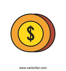 dollar coin line and fill style icon vector design