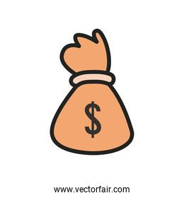 dollar money bag line and fill style icon vector design