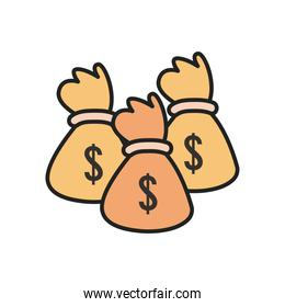 dollar money bags line and fill style icon vector design