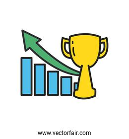 trophy and bars chart with increase arrow line and fill style icon vector design