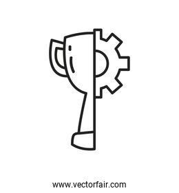trophy with gear line style icon vector design