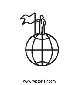 Businessman avatar on global sphere with flag line style icon vector design