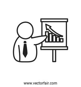 Businessman avatar with bars chart on board line style icon vector design
