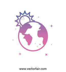 world sphere with sun gradient style icon vector design