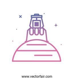 Space module on planet gradient style icon vector design