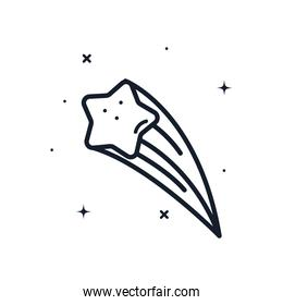 shooting star line style icon vector design