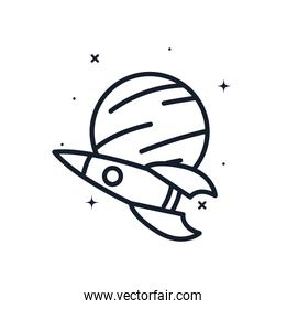 Rocket and planet line style icon vector design