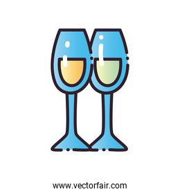 champagne cups fill and gradient style icon vector design