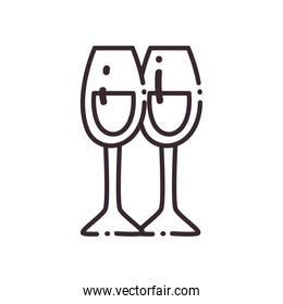 champagne cups line style icon vector design