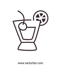 Cocktail glass with lemon and cherry line style icon vector design