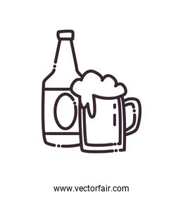 beer glass line style icon vector design