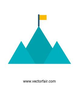 mountains with flag icon, flat style