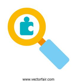 magnifying glass with jigsaw piece icon, flat style