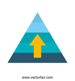 strategy concept, pyramid with up arrow icon, flat style