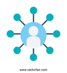 avatar person with circular conceptual map icon, flat style