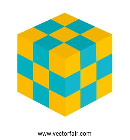 strategy cube icon, flat style