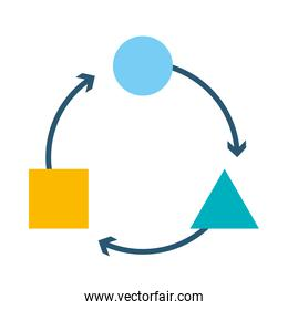 strategy concept, geometric shapes cycle icon, flat style