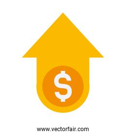arrow up with money symbol icon, flat style