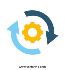 gear wheel with circle arrows icon, flat style