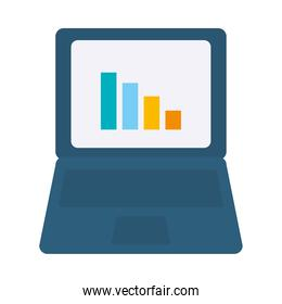 laptop computer with graphic chart icon, flat style