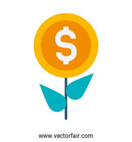 profit plant, plant with money coin icon, flat style