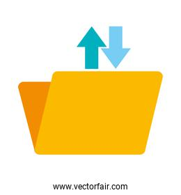 folder document with upload and download arrows icon, flat style