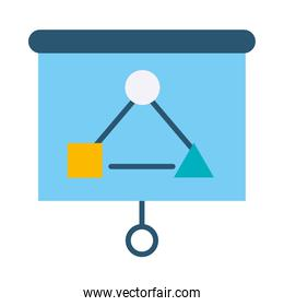 presentation board with strategy graphic chart icon, flat style