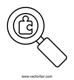 magnifying glass with jigsaw piece icon, line style