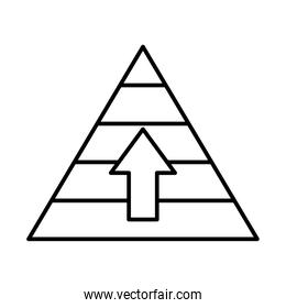 strategy concept, pyramid with up arrow icon, line style