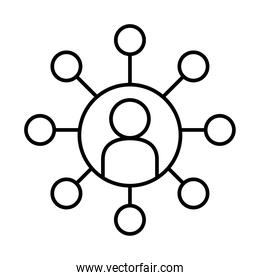 avatar person with circular conceptual map icon, line style