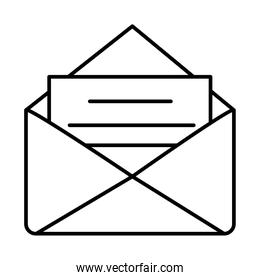document in envelope icon, line style