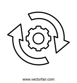 gear wheel with circle arrows icon, line style