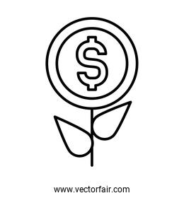 profit plant, plant with money coin icon, line style