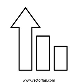 strategy concept, graphic chart with arrow up, line style
