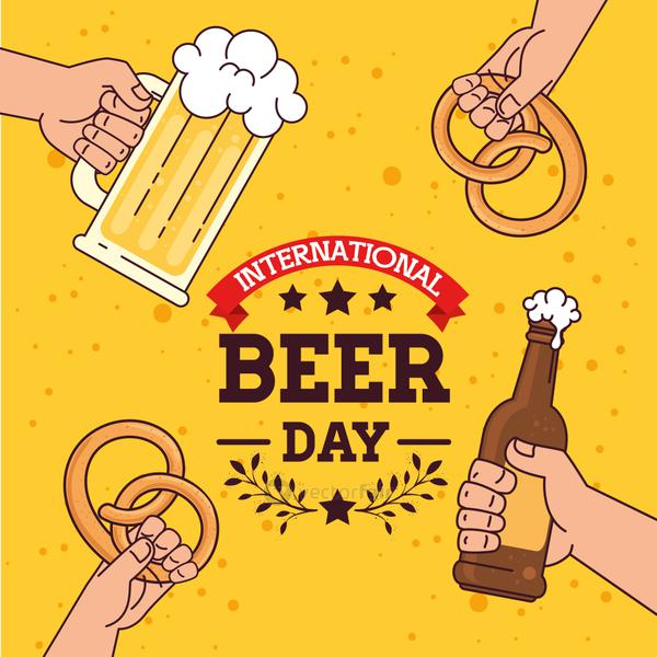 international beer day, august, with hands holding, mug glass and bottle of beer, pretzel