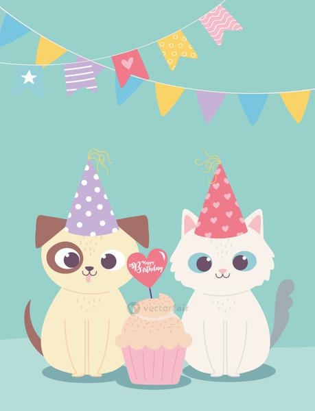 happy birthday, cute dog and cat with party hat and cupcake, celebration decoration cartoon