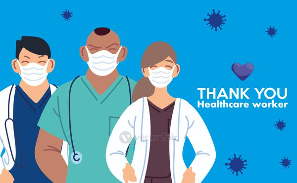 woman and men doctors with masks and thank you healthcare worker vector design