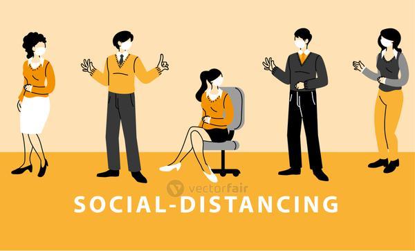 social distancing, business people wear face masks