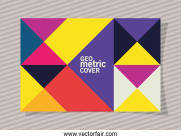 geometric vintage cover and multicolored frame vector design