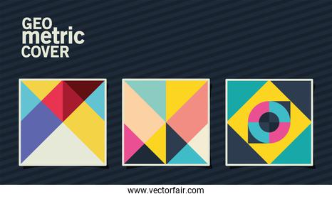 geometric vintage cover and multicolored frames set vector design