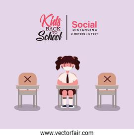 Girl kid with uniform and medical mask at desk vector design