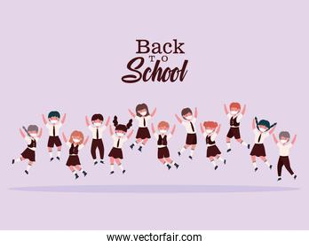 Girls and boys kids with uniforms and medical masks jumping vector design