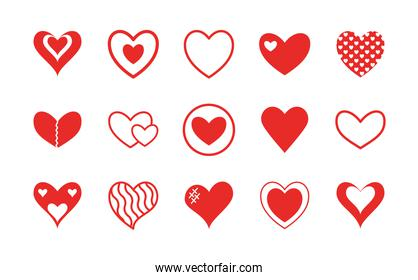Hearts flat style icon vector design