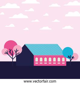 Pink city building landscape with clouds and trees design