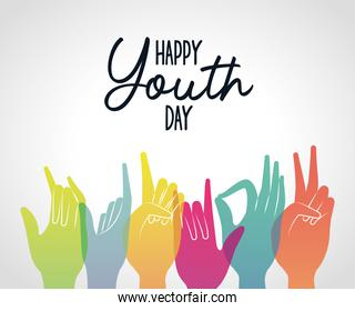 multicolored gradient hands of happy youth day vector design