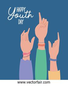 hands up of happy youth day vector design