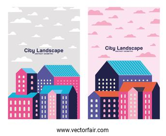 Pink purple and blue city buildings landscape with clouds frames design